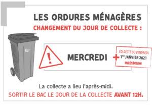 2021 : Changement du jour de collecte des ordures ménagères