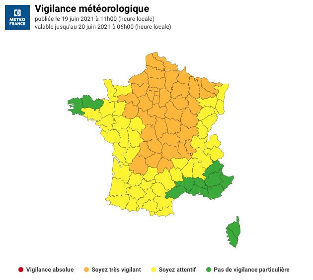 VIGILANCE ORANGE RISQUE D'ORAGES