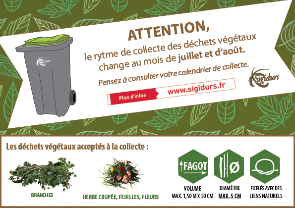 Changement du rythme de la collecte des déchets végétaux durant les mois de juillet et d'août